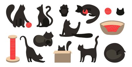 Vector set of black cats silhouettes in flat style. Vector callip art animal. The cat sleeps, plays, sits, licks. Scratching post, bedding, ball for the game. Cute cats for flat design.