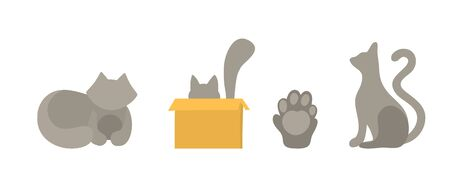 Set of vector cats silhouettes in flat style. Isolated on a white background cats in different poses. The cat sits in the pose of the sphinx, hides in a corton box and stretches its paws forward. Cat paw icon with pads Vettoriali