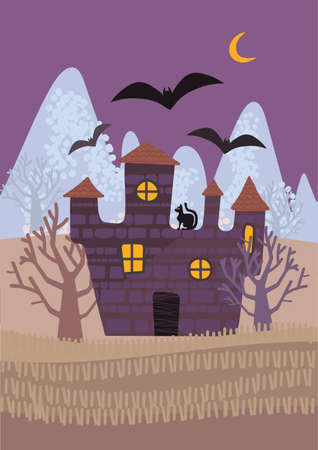 Vector illustration of a full moon, bats and a silhouette of a castle on a mountain in a flat style. Colorful picture for printing flyers, posters, posters, invitations, horizontal banners. Cute castle greetings on halloween fall. Vettoriali