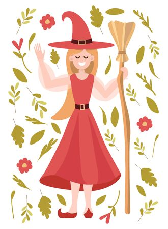 Vector illustration with a witch in a red dress with a broom smiling. Clip art for halloween poster, attachment, banner, invitation. Lovely girl has a positive attitude and welcomes Vettoriali