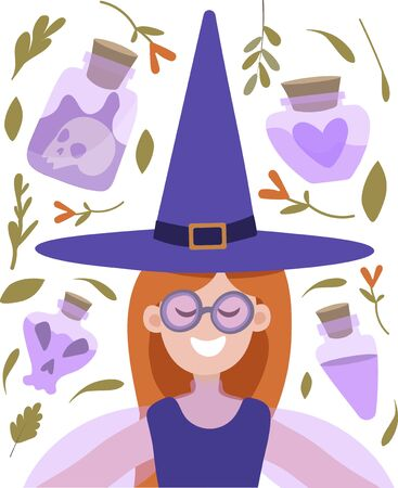 Vector illustration of a red-haired witch with glasses smiling on a dark background among herbs and potions. Illustration in flat style for cards, invitations, banners, posters. Design for halloween fall. Vettoriali