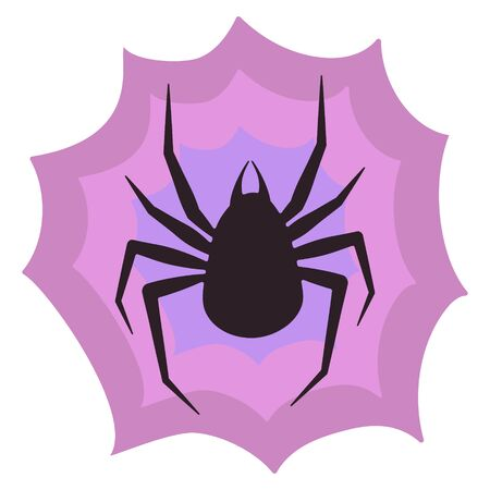 Vector illustration web with spider in flat style. Spider web and arachnid insect. Scary, creepy, creepy halloween characters flat vector. Sticker for halloween or spider lovers.