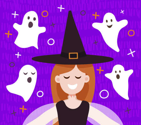 Vector illustration of a cute girl witch smiling in flat style. Four cute ghosts fly around on a purple background. Illustration in flat style for a card, poster, banner