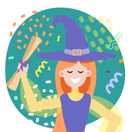 Cute girl magician is holding a letter in her hands. Vector illustration for a postcard, invitation, poster or banner. Happy Halloween girl in mage costume isolated on white background. Funny festive background with confiti. Party, celebration, show Vettoriali