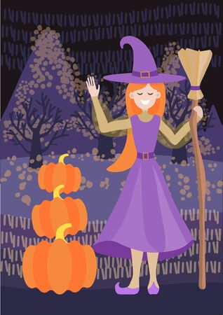 Vector illustration of a cute girl witch with a broom stands in the field and greets you. Three pumpkins, harvesting, funny halloween. Against the background are field fields, mountains and trees, night landscape. Illustration in flat style for a card, poster, banner.