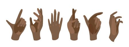 Vector illustration of black hands on a white isolated background. Black lives matter. Set illustration of a hand in different positions in a flat style. Beautiful manicured hands.