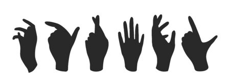 Vector set of black silhouettes of human hands on a white isolated background. Hand gestures and poses, hand silhouette, hand silhouette, palm silhouette, hands gestures silhouettes.