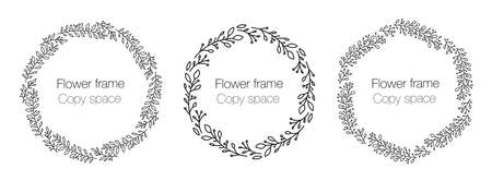 Collection floral frame with copy space. A set of cute retro flowers arranged in the shape of a wreath, ideal for wedding invitations and greeting cards, labels. Circular wreath frame line art