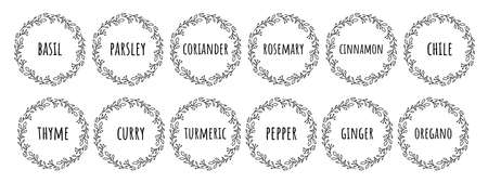 Black white vector food 12 labels or stickers.