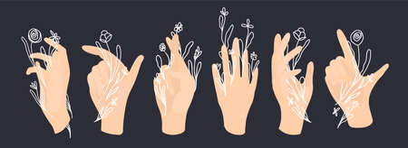Vector white hand and palm with line art white flowers.