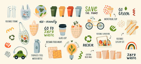 A collection of vector illustrations by Zero Waste. Eco icons with earth, bicycle, nature of plants isolated on light Glass jars, ecological grocery bags, wooden cutlery, menstrual cup, thermomug. Flat vector illustration. Ecology and recycling with environmental conservation vector illustration and motivational quote text.