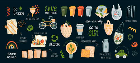 Vector large set of stickers, icons and sivols zero waste, saving the earth, go green. Illustration of the power of a flat on a dark isolated background. Green lifestyle infographics. Stylish and modern trend colors and shapes.