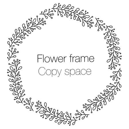Vector round frame from doodle branches and flowers. Black and white vector pattern for labels, wedding design, cute invitations, round tags. Black on light in isolation, place for text in the center. Vettoriali