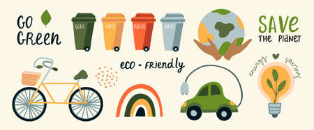 Vector ecological car, bike, garbage sorting tanks. Respect for nature, zero waste, green, rainbow. Vector earth conservation design elements. Hands hold the earth Vettoriali