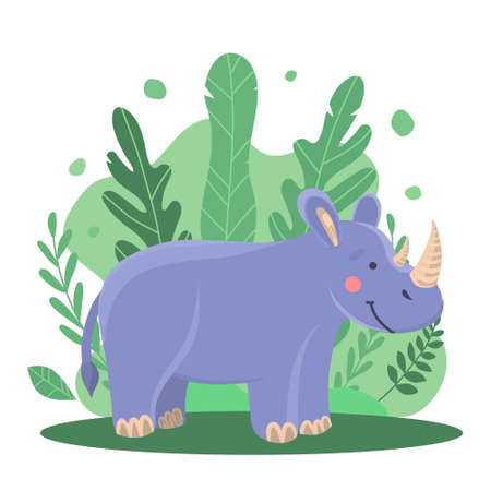 Vector illustration of a cute cartoon rhino among the branches and trees in the jungle. Cute illustration for print, illustration for a book, design of children's things. Kind animal from the wild forest 向量圖像