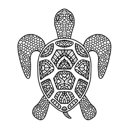 Vector black and white coloring turtle coloring doodle for adults and children. Patterned turtle shell with fine details and ornament isolated.