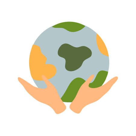 illustration of a hand holding the Earth toll. Sticker, badge, print on the theme of protecting the natural resources of the planet Earth. Caring, protecting the environment, the concept of protecting nature and preserving for future generations.