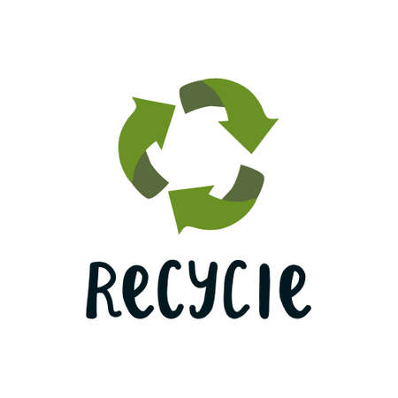 inscription recycling and green arrows sign in a circle. A badge for a product, a product that will be recycled and will not pollute the environment.