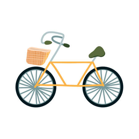 illustration of a yellow pleasure bike with a wicker basket.