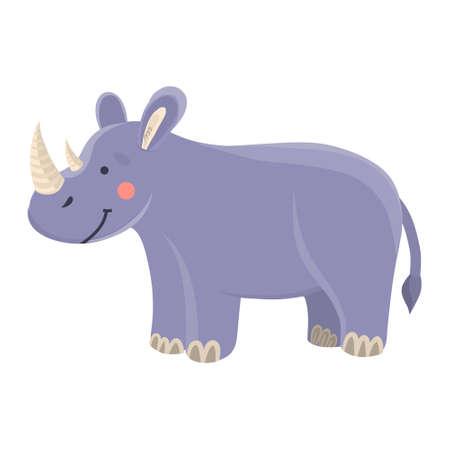illustration of a cute rhinoceros in cartoon hand drawn flat style. Vettoriali