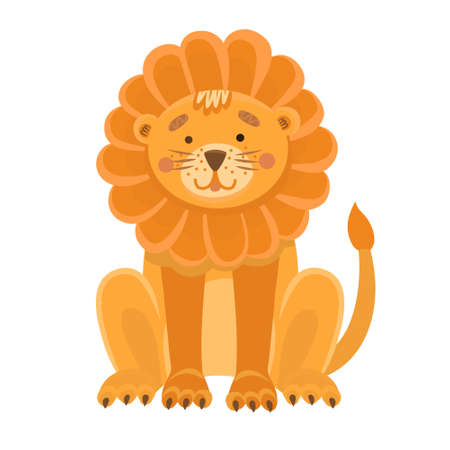illustration of a cute lion in flat style. Cartoon illustration drawn for children.