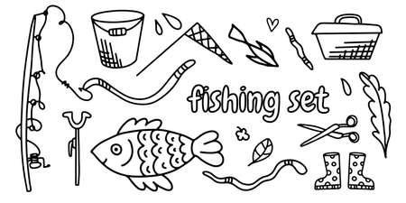 set of doodle illustrations fishing set. Fishing rods, hooks, worms, bucket, fish.
