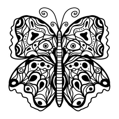 black-white drawing of a butterfly. Coloring book for adults and children, patterned print, tattoo, winged insect with many small details. Vettoriali
