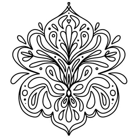 black and white drawing mirror floral ornament. Coloring book for adults and adolescents, a beautiful print for painting, applying on clothes or dishes.