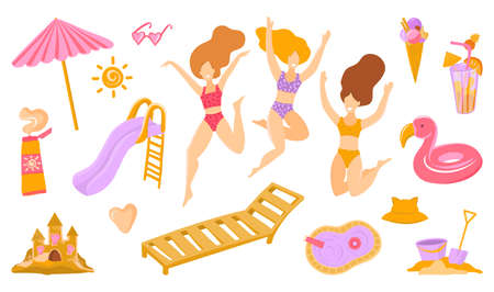 set of cute summer icons. Bikini, sunblock, beach umbrella, towel, ball, sand castle, pool, girls in bikinis, flamingo lifebuoy, sun. Bright summer party set. Collection of scrap booking elements for beach party. Vettoriali