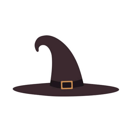 Illustration of a tall witch hat on a white background isolated. Vector design element for heluin poster, party, clothing, magic characters, magicians. Sorceress hat with gold buckle. Vetores
