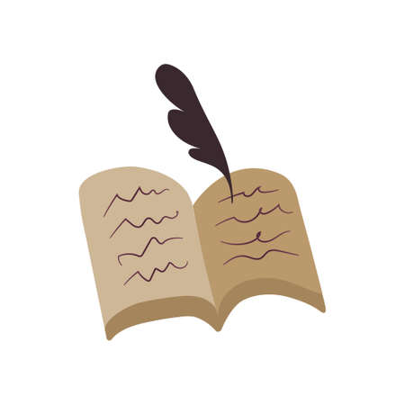 Vector illustration of a manuscript with a feather. Old book in flat style on white isolated. Suitable for animation, cartoon-style games, library applications, archives, old papers. Old book with yellow pages and hand lettering. 版權商用圖片 - 155676188