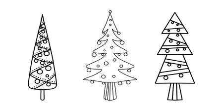 Vector set of vertically narrow three Christmas trees in sketch style on white background isolated. Perfect doodle design for vertical banner, recolam, New Year booklet, flyer, vertical banner