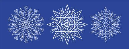 White openwork snowflakes with small details on a blue background are isolated. Line and decorative elements for New Year, Christmas design on a dark background isolated. Registration of a Christmas sale or promotion Vektoros illusztráció