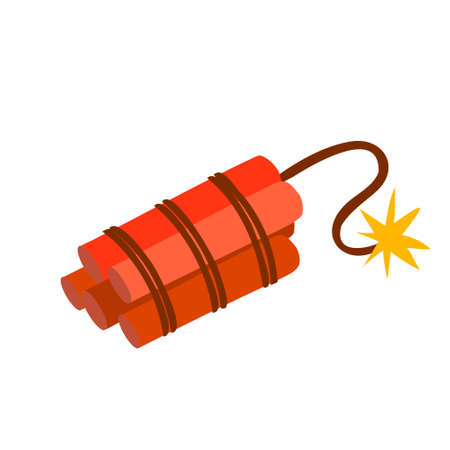 Vector illustration of a dynamite bomb explosion, cartoon detonate a dynamite bomb. Wild west series in flat style. Red bombs bunch with wick and spark. Illustration of a super application, the action is rather urgent. 向量圖像
