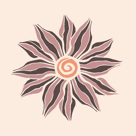 Vector illustration with a beautiful flower. Wavy black and pink stripes of petals and a curl of a red-colored core.