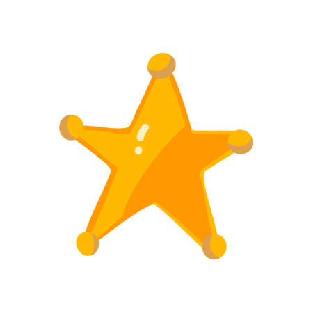 Vector gold sheriff star in flat style on a white background. Gold five-pointed badge of the main one. Clip-art illustration in flat style for animation or games in a cartoon style. Clothing design for characters from the wild west, cowboys, westerns.