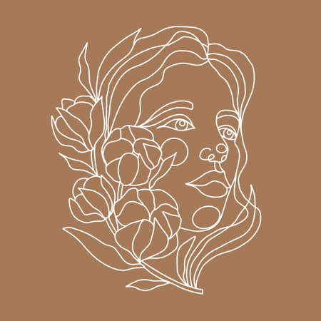 Drawing of a woman face with a branch of cotton in a continuous line style. Fashion concept, minimalist beauty of a woman with graceful linear pattern. Abstract floral elements and woman portrait. Ilustración de vector