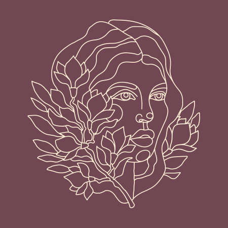 Portrait of a beautiful woman with a white line on a dark background. Vector illustration for printing on cards, posters, t-shirt print. A lot of magnolia flower on a branch intertwined with the girl s hair. Line art illustration Vettoriali
