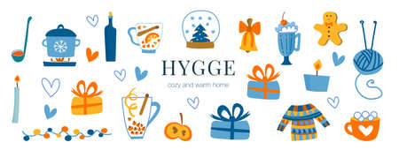 Vector set with cozy hygge home and interior items. Cute stickers for album decoration, photos, funny cartoon illustrations in blue, red and yellow colors. Gifts, drinks, comfort.