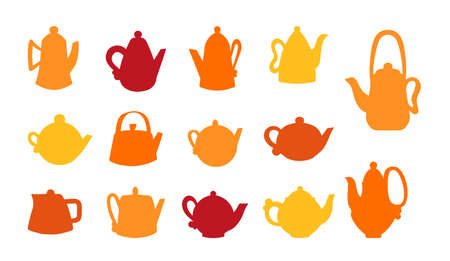 Vector set of ceramic teapots. Silhouettes of different shapes of clay teapots, pottery and modeling. Packaging for tea, coffee or coffee shop.