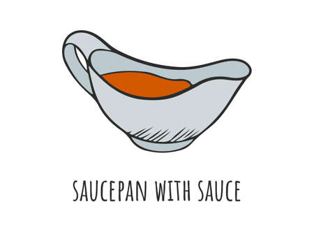 Bowl with sauce, ketchup or barbecue sauce. Vector illustration of a gravy boat in cartoon style. Menu decoration in sketch style and color.