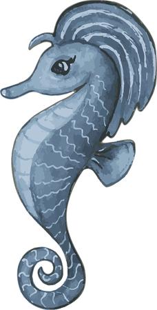 Blue cartoon sea horse character. Watercolor hand drawn. Vector 向量圖像
