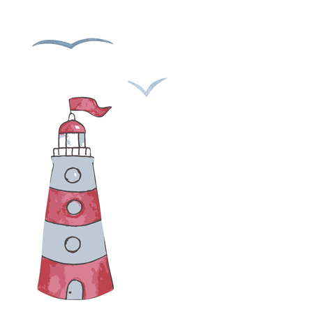 Watercolor lighthouse illustration. Isolated lighthouse and seagulls on white background. Hand drawn artwork. Vector