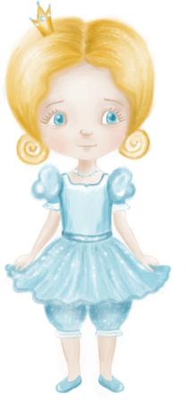 Little cute princess in lightblue dress and trousers with colden crown isolated on a white background
