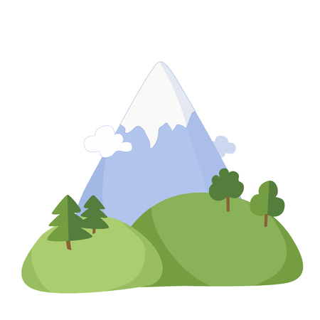 summer landscape of mountain and hills in the style of a flat vector Stockfoto - 112343926
