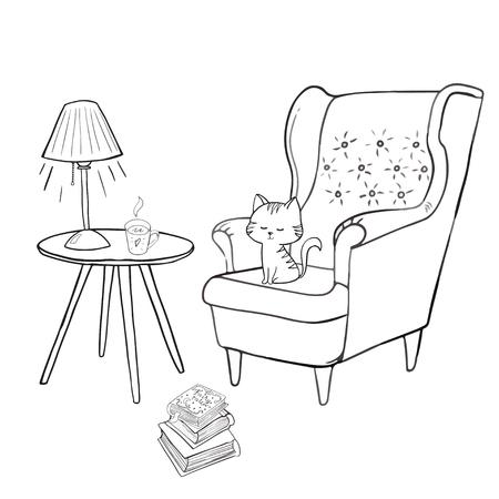 Gemütliches Zimmer, Teezeitset Gemütliches Zuhause Dinge wie Tee, Katze, Stuhl, Kissen, Apfelkuchen und anderes dänisches Glückskonzept Vektorgrafik