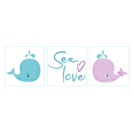 Set of nursery posters, Little Blue and Pink Whales, sea love lettering, gender reveal party invitation, vector illustration isolated on white background, baby shower decor  イラスト・ベクター素材