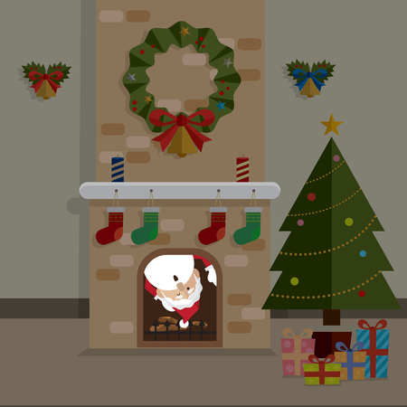 Noël père Noël et vecteur de salle de cheminée