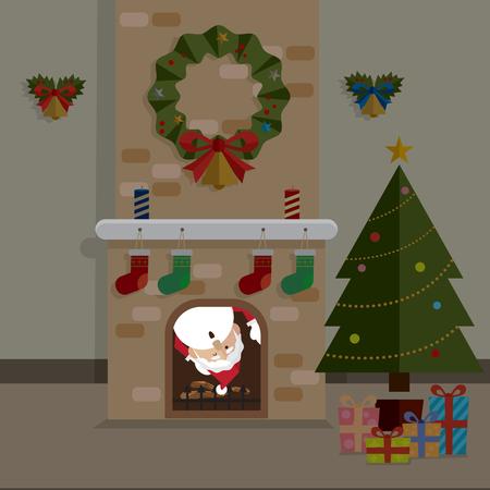 Kerstmis de Kerstman en de vector van de open haardruimte