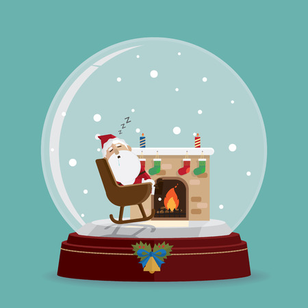 santa claus relax fireplace in snow globe vector